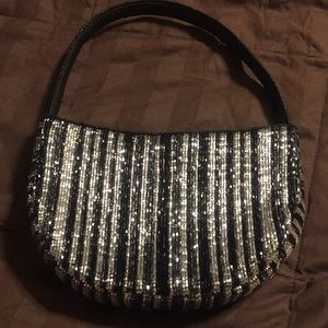 Vintage black and silver beaded purse